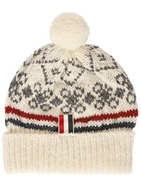 Wool mohair knit beanie with pompom medium 637791