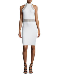 French Connection Bette Sleeveless Mesh Inset Bodycon Dress White