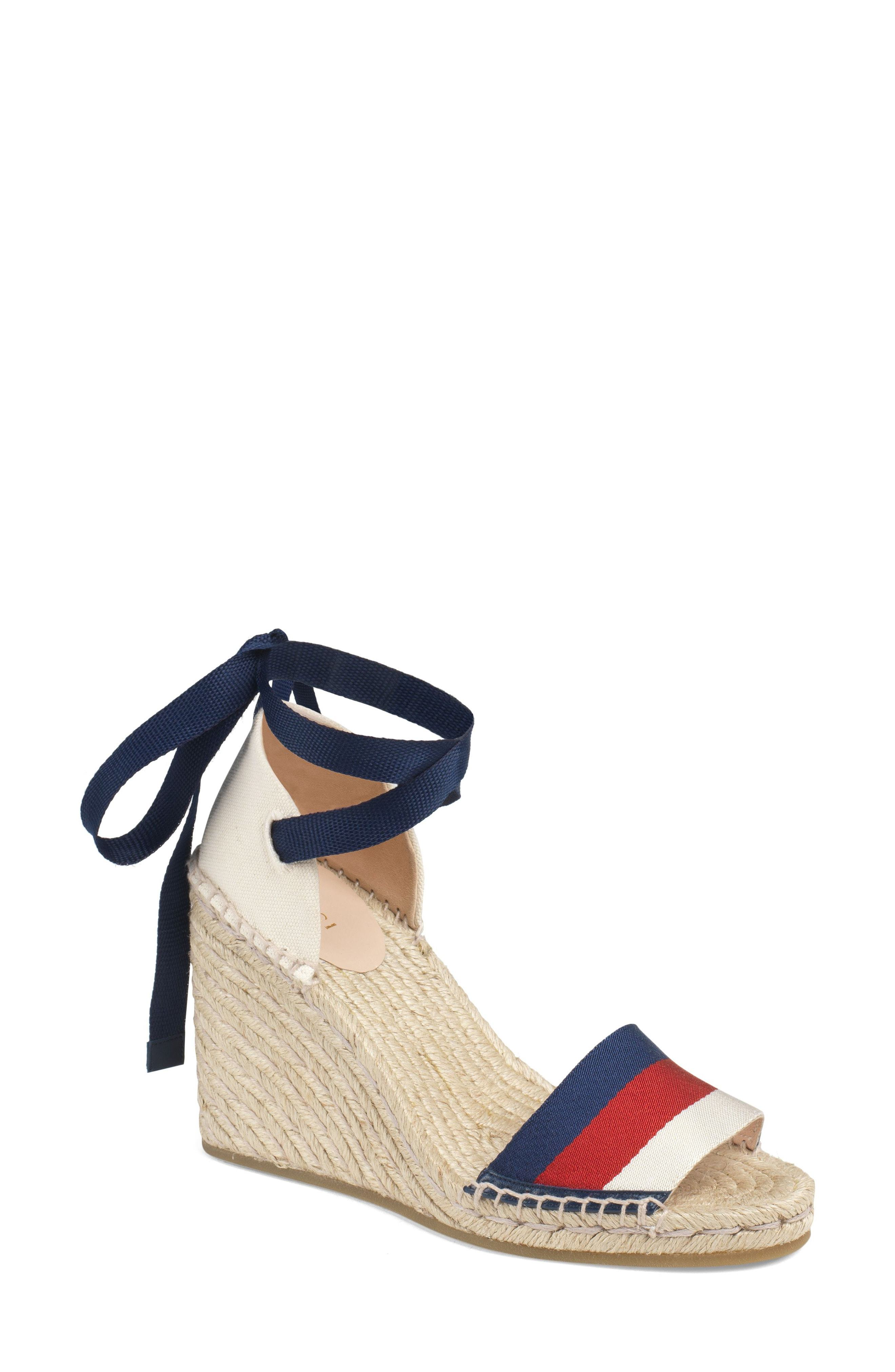 1d0841e2d921 ... White Horizontal Striped Canvas Espadrilles Gucci Lilibeth Sylvie Web  Espadrille Wedge Sandal