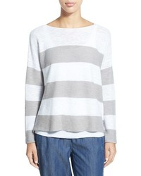 White Horizontal Striped Crew-neck Sweater