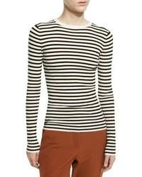 A.L.C. Harmon Ribbed Striped Wool Blend Sweater Whiteblack