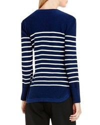 Vince Camuto Button Detail Stripe Sweater
