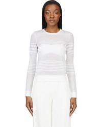 Calvin Klein Collection White Semi Sheer Engineered Stripes Sweater