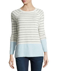 Vince Colorblock Striped Raglan Sweater Winter Whiteheather Grayaqua