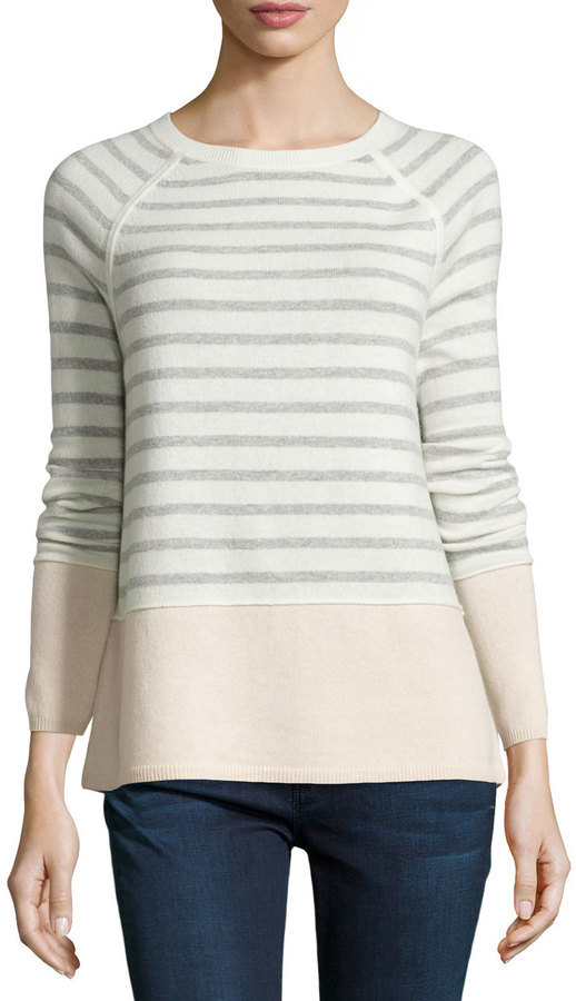 Vince Colorblock Striped Raglan Sweater Winter Whiteheather Grayblossom