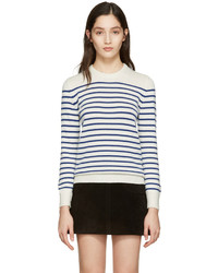 Saint Laurent Ivory Grunge Striped Sweater