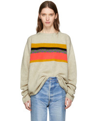 The Elder Statesman Off White Cashmere Gofa Stripe Sweater
