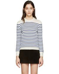Saint Laurent Ivory Grunge Striped Sweater