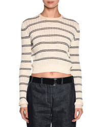 Giorgio Armani Striped Crewneck Sweater Off White