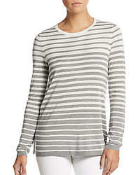 Vince Striped Silk Cashmere Crewneck Sweater