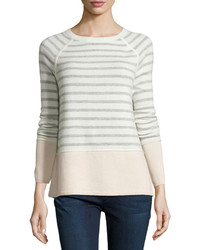 Vince Colorblock Striped Raglan Sweater Winter Whiteheather Grayblossom