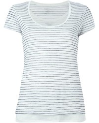 White Horizontal Striped Crew-neck T-shirt