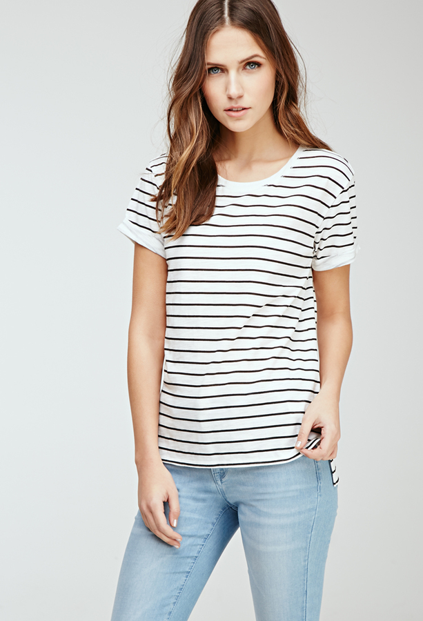7af2eadfe5 Forever 21 Classic Striped Tee, $10 | Forever 21 | Lookastic.com