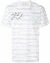 Salvatore Ferragamo Logo Patch Striped T Shirt