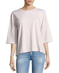 MiH Jeans Mih Striped Oversized Tee Whiteair Pink