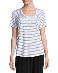 Organic linen striped tee whiteblack medium 3650029