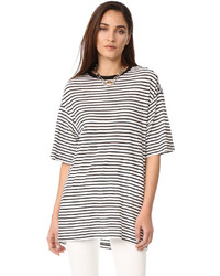 R 13 R13 Oversized Striped Boyfriend Tee