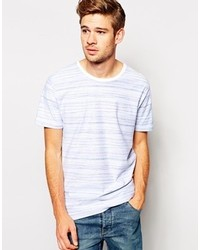 Selected T Shirt With Reverse Stripe White