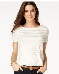 Tommy Hilfiger Short Sleeve Metallic Striped T Shirt