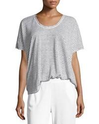 ATM Anthony Thomas Melillo Short Sleeve Striped Linen Tee Whiteblack