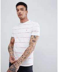 Original Penguin Space Dye Stripe T Shirt Slim Fit In White
