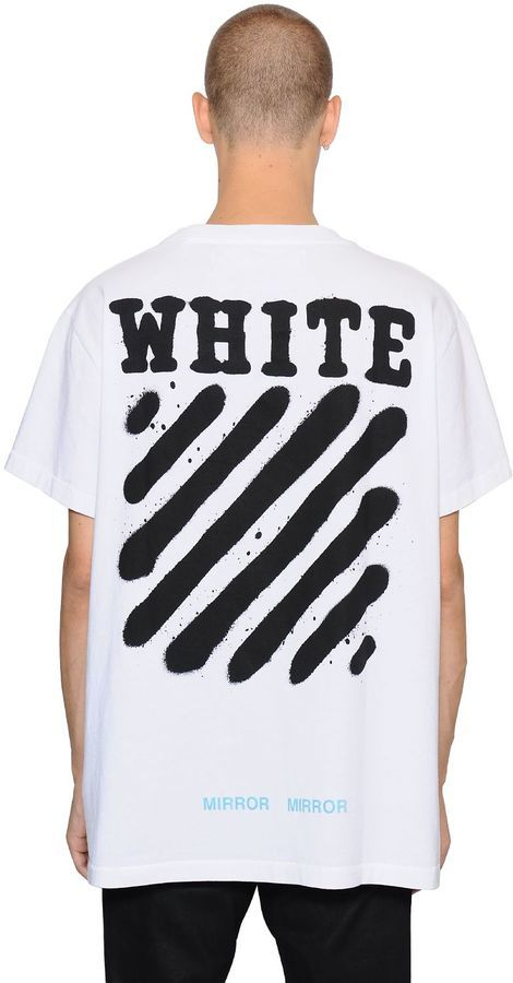 5c828d9f3fec88 ... Off-White Spray Stripes Cotton Jersey T Shirt ...