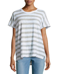 James Perse Striped Dolman Slub Jersey Tee White