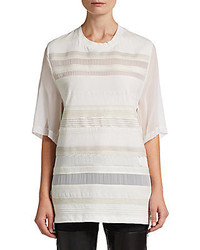 Striped silk chiffon paneled tee medium 165223