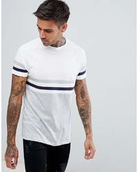 ASOS DESIGN T Shirt With Contrast Body And Sleeve Stripes In White