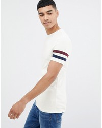 ASOS DESIGN T Shirt With Sleeve Stripe In Off White