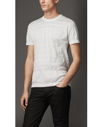 Burberry Textured Stripe Cotton T Shirt
