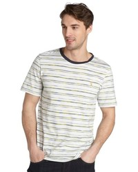 Farah Vintage Dark Mint Stripe The Erroll Cotton T Shirt