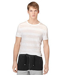 Calvin Klein Jeans White Short Sleeve Burnout Striped Tee