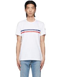 Moncler White Tricolor Stripe Logo T Shirt