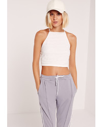 White Horizontal Striped Cropped Top