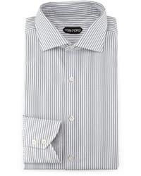 Striped button down shirt graywhite medium 586034