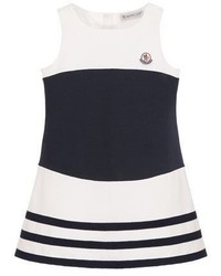 Moncler Sleeveless Striped Stretch Dress Whiteblue Size 4 6