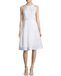 Carmen Marc Valvo Sleeveless Pleated Fit Flare Dress White