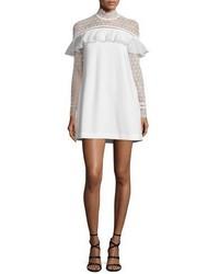 Self-Portrait Long Sleeve Lace Trim Crepe Mini Dress White