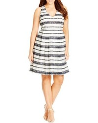 Stripe fit flare lace dress medium 517941