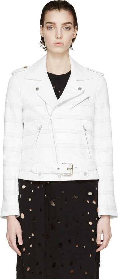 Each X Other White Striped Biker Jacket 2 135 Ssense Lookastic