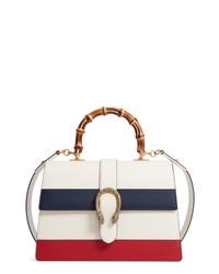 White Horizontal Striped Leather Crossbody Bag