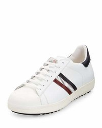 Moncler Perforated Tricolor Stripe Low Top Sneaker White