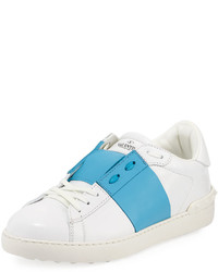 Valentino Striped Leather Low Top Sneaker Whiteblue