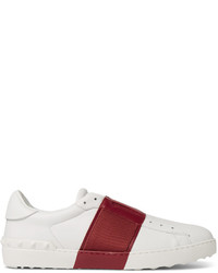 Valentino Striped Leather Slip On Sneakers