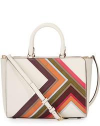 White Horizontal Striped Leather Tote Bag