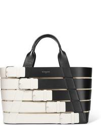 Balenciaga Stripes Cabas Small Paneled Leather Tote White