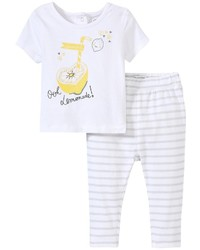 Absorba Lemon Smile Legging Set White 0 3 Months