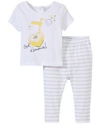 Absorba Ooh Lemonade Legging Set White 12 Months