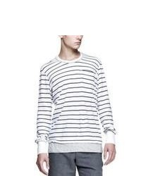 White Horizontal Striped Long Sleeve T-Shirt